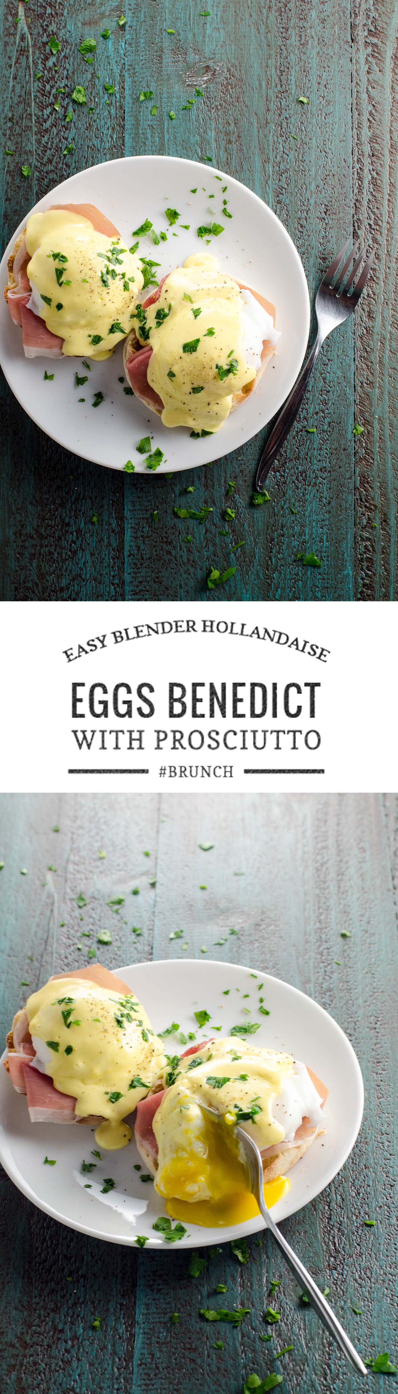 Prosciutto eggs Benedict is an easy and classy twist on the traditional recipe. 5-minute, 5-ingredient blender Hollandaise brings it together in a flash.