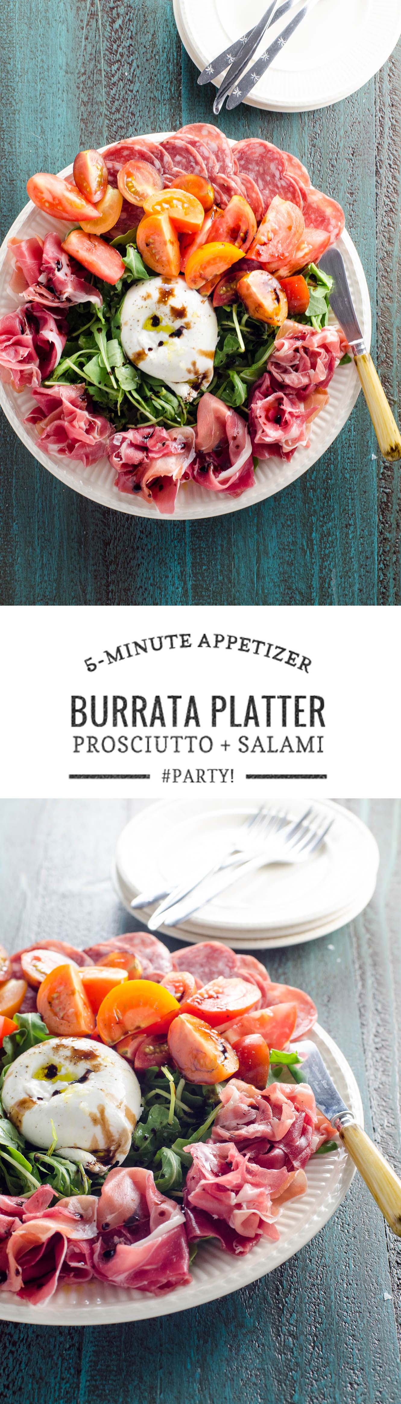 A quick and easy appetizer (or, hey, summer dinner) with tons of bang for our buck: burrata platter with prosciutto, salami, arugula and tomatoes.