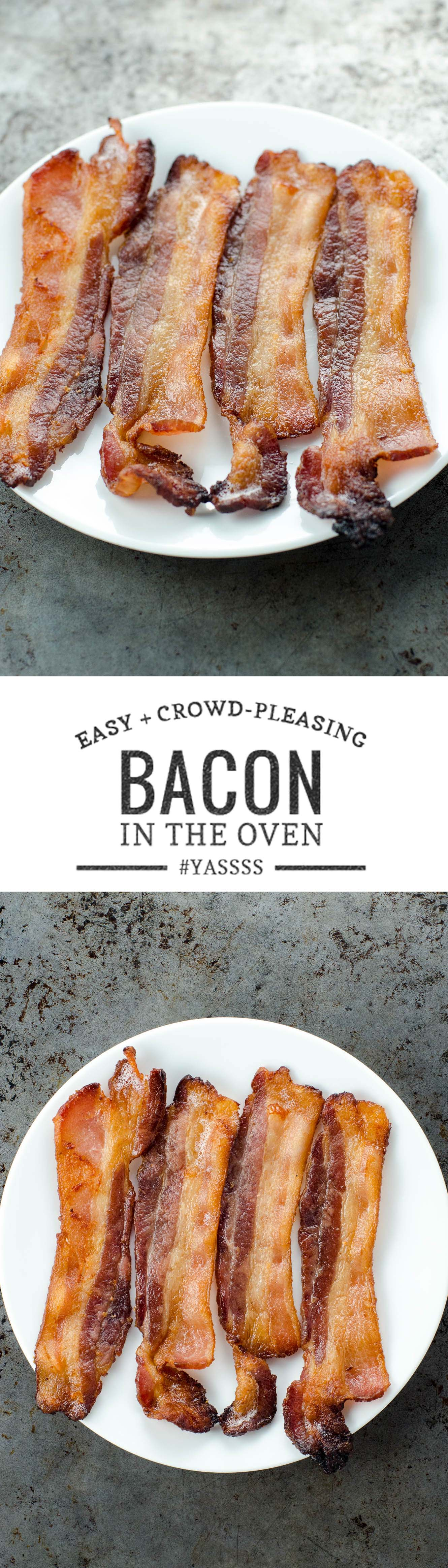 Make bacon in the oven for an easy, hands-off process and consistent results. Works well for a few or a crowd.