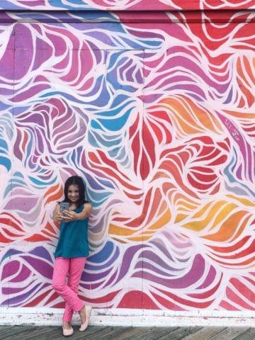 Selfie at the Wooden Walls Project Asbury Park Boardwalk | Umami Girl