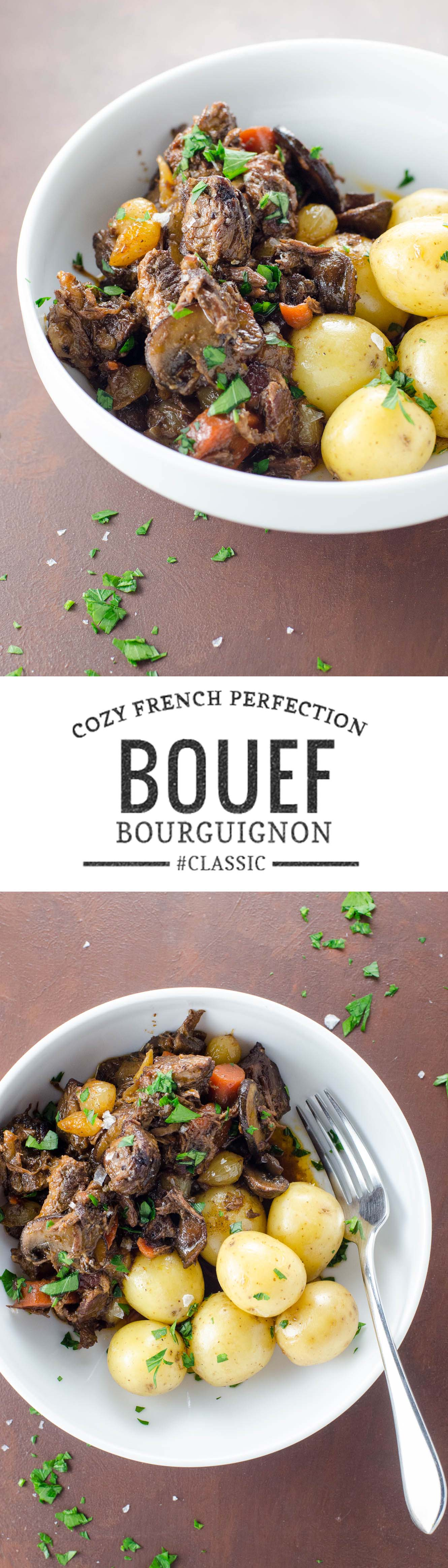Boeuf Bourguignon, the classic French beef stew, is the ideal centerpiece for a cozy fall dinner party. It makes a great care package, too.