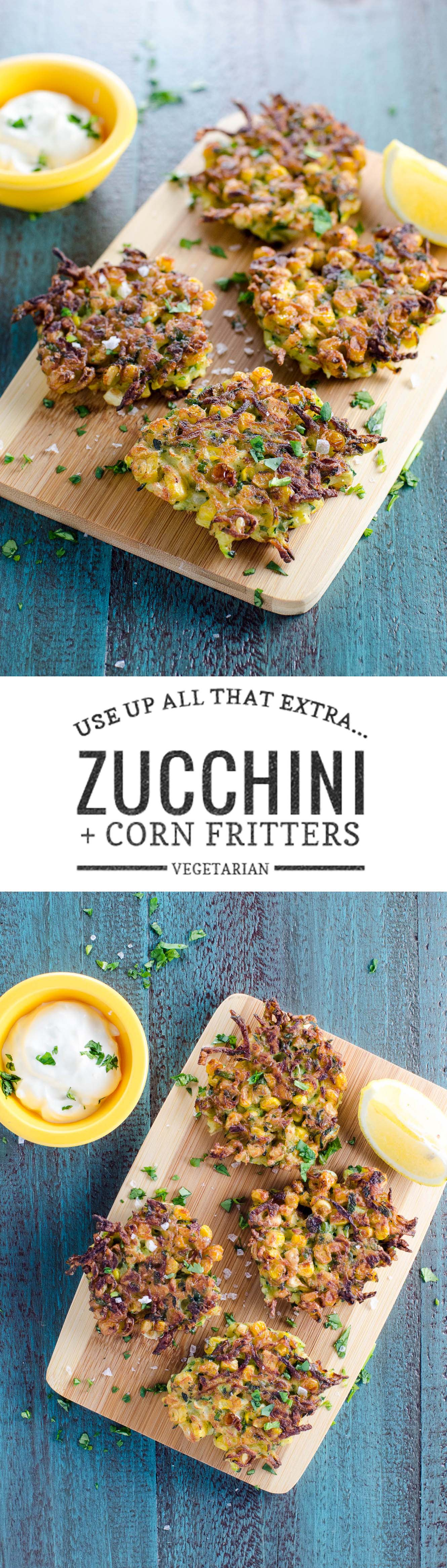 Zucchini corn fritters are a crowd-pleasing way to use up lots of zucchini and corn. Great as a meal or an appetizer.