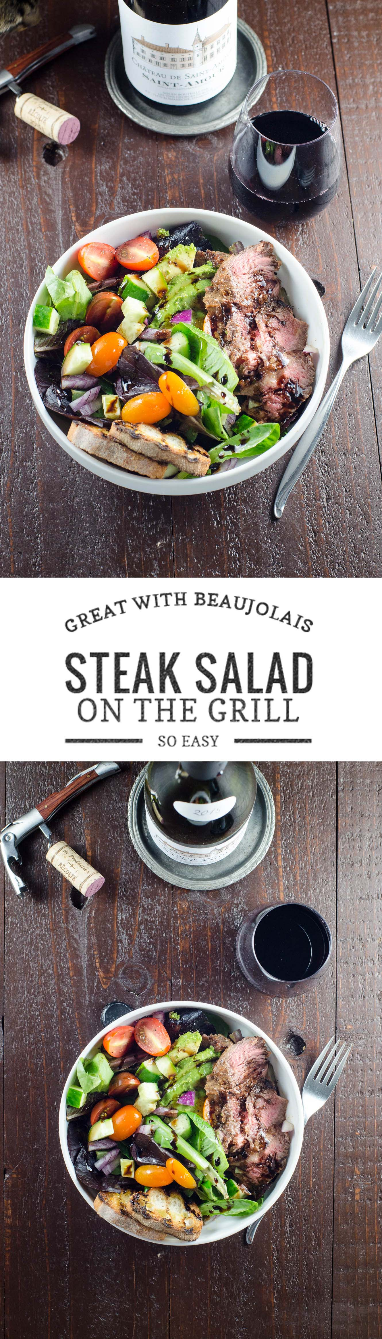This easy recipe for boldly flavored, marinated grilled skirt steak salad pairs beautifully with Beaujolais. (Message for 21 and up.) #sponsored