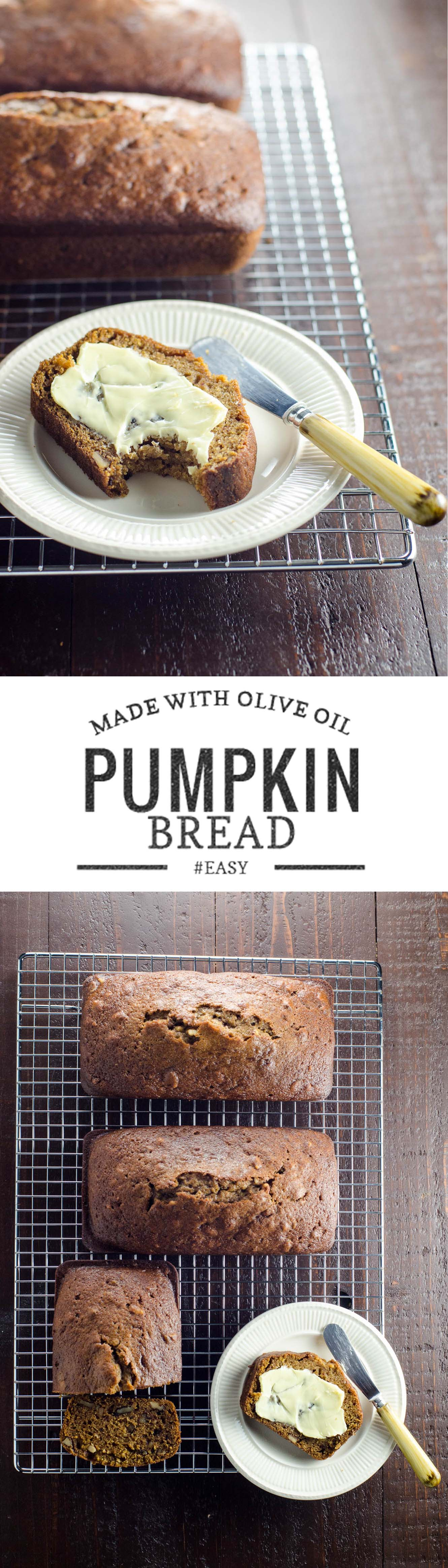 This ancient family recipe uses olive oil and a slightly unusual proportion of classic fall spices to make the most wonderful pumpkin bread.