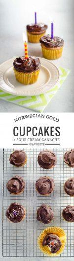 Norwegian Gold Cupcakes with Sour Cream Ganache | Umami Girl