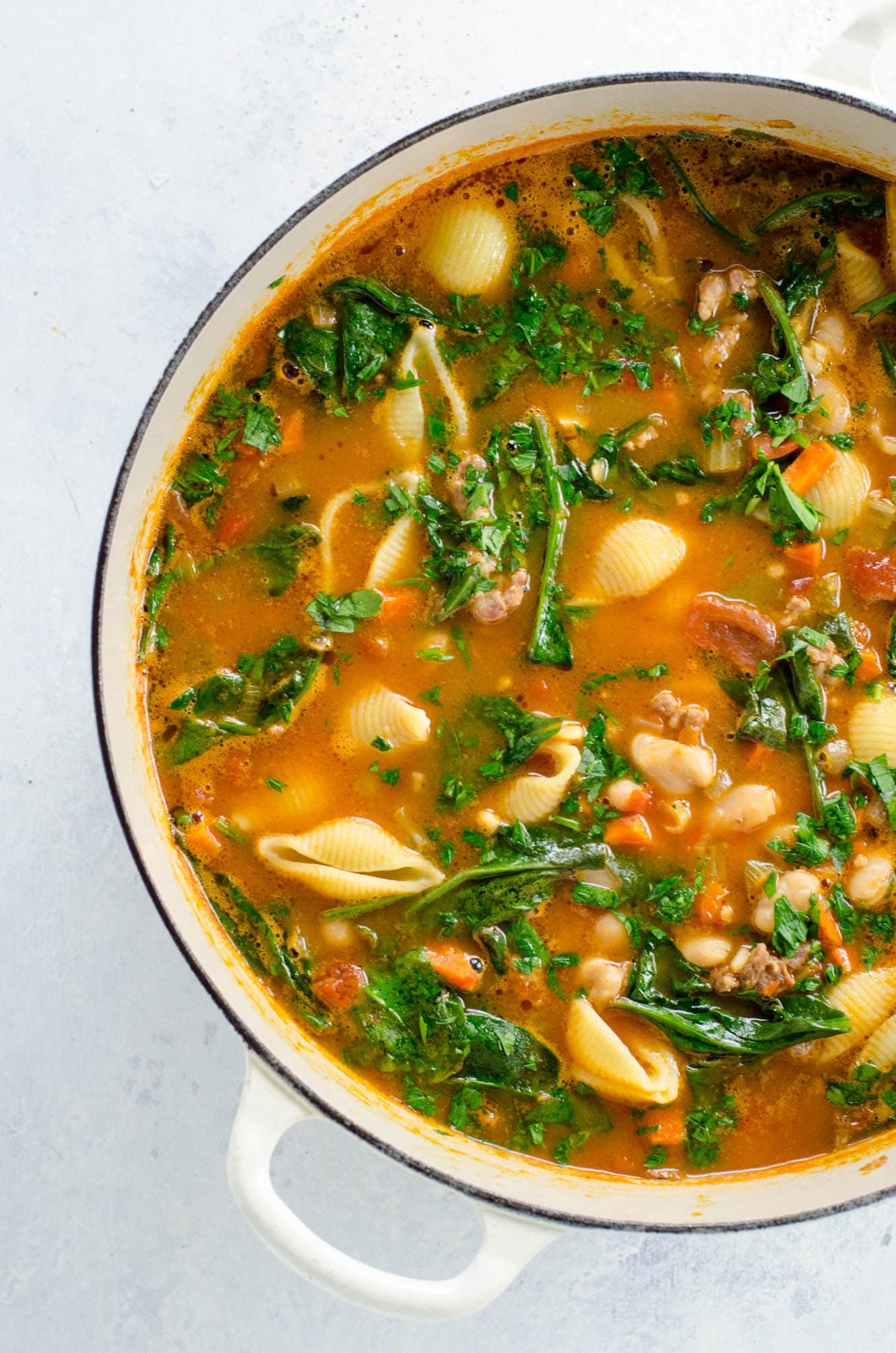 Italian Sausage Soup With White Beans And Spinach Umami Girl