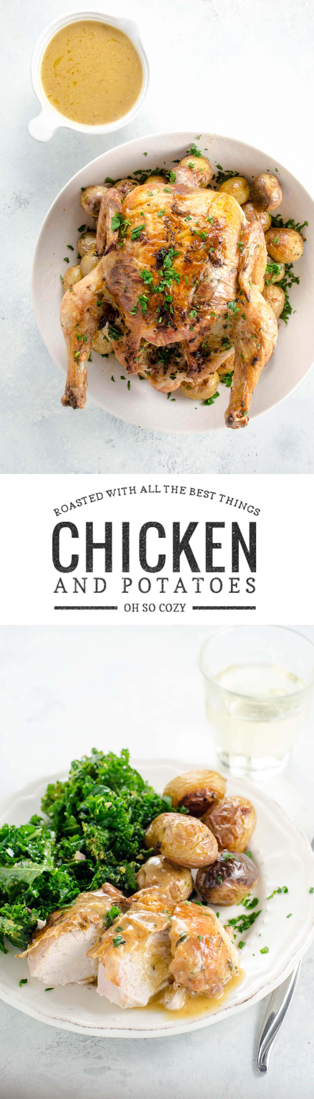 Easy roast chicken and potatoes with lots of savory flavor makes a great dinner party for six without a lot of hassle. Just add a simple salad and some wine.