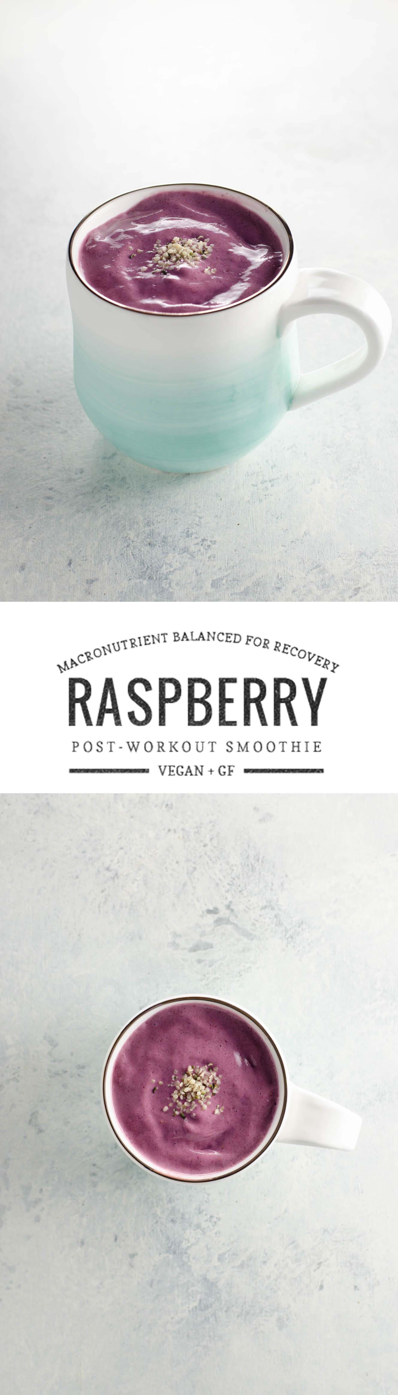 This raspberry chia post-workout smoothie is macronutrient balanced for muscle recovery. Vegan, GF and low-glycemic.