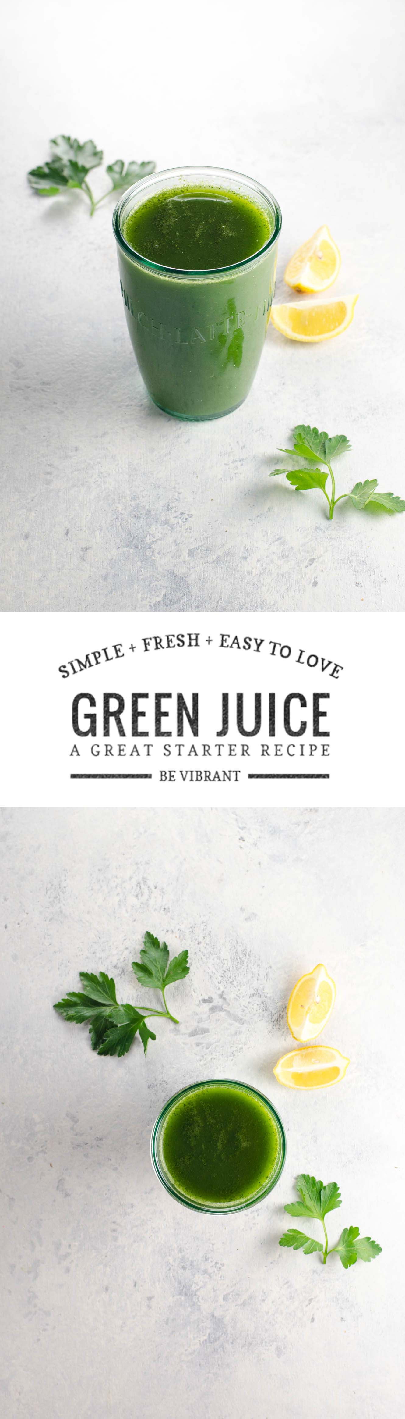 This simple, fresh, basic green juice recipe is great when you want a mellow juice vibe or if you're just starting out with green juice.