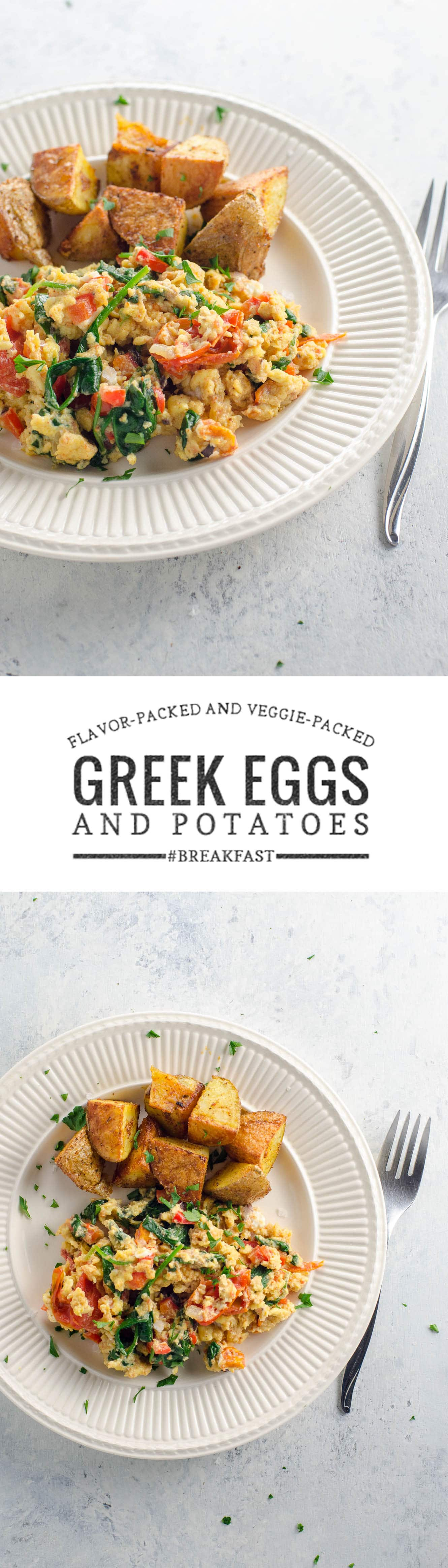 This flavor-packed and veggie-packed breakfast (or brunch! or breakfast for dinner!) of Greek scrambled eggs and potatoes is quick, easy, and satisfying.