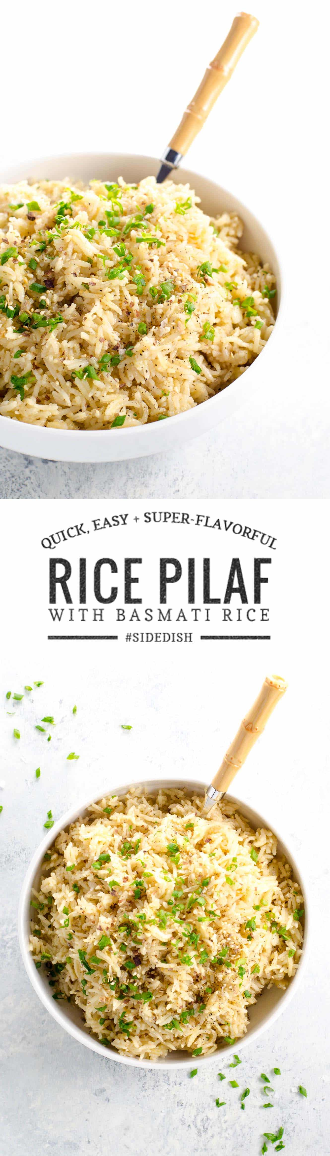 This quick, easy and super-flavorful rice pilaf is made with basmati rice. It's a great side dish or bed for a wide variety of meals and a great basic recipe to have in your repertoire.
