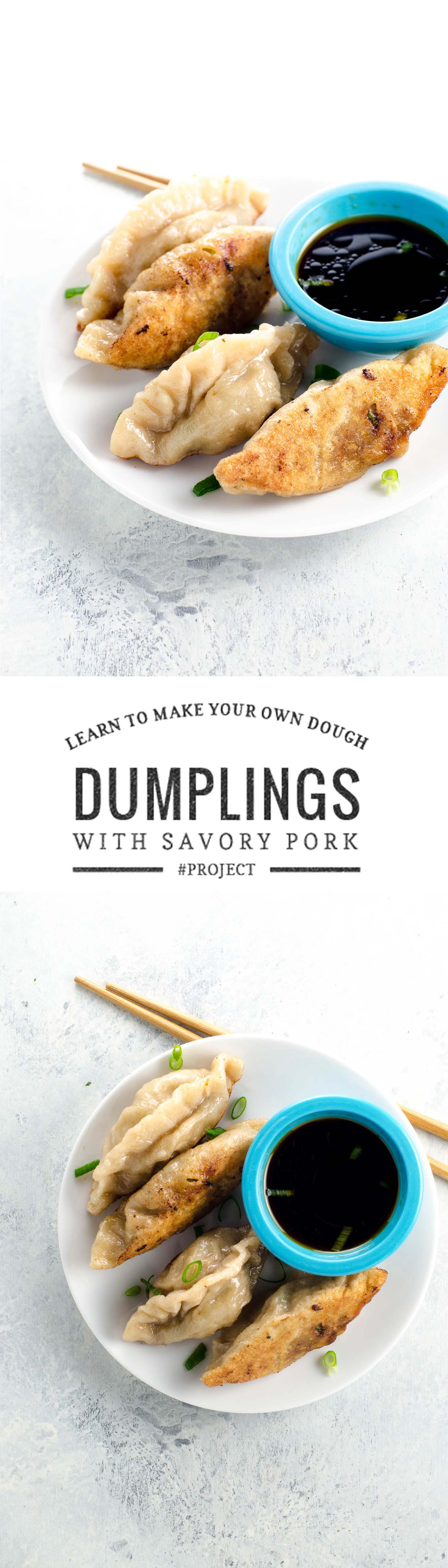 Chinese dumplings with a savory pork filling are a fun and satisfying kitchen project. Quick video tutorial to demystify the process -- you can totally do this! :)