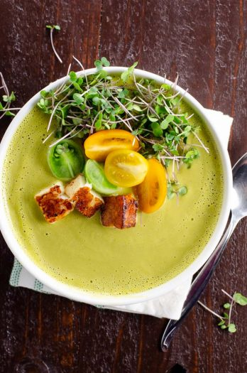 Creamy Asparagus Soup Recipe with Ramps or Garlic, a great spring soup recipe