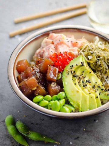 Ahi Tuna Poke Bowl Recipe Spicy Salmon 780 | Umami Girl