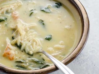 Avgolemono Soup (Greek Lemony Chicken Soup) with Orzo and Spinach