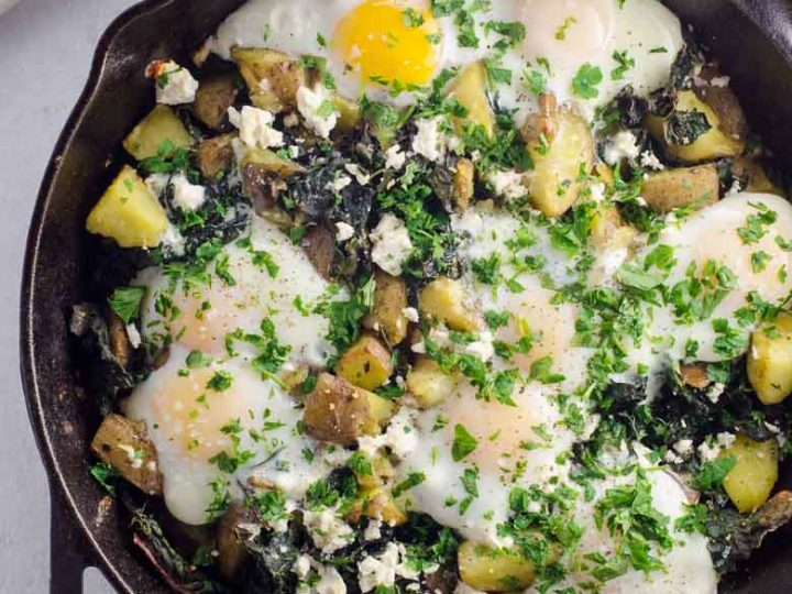 Baked Eggs Recipe with Potatoes and Kale Cast Iron Skillet 780 | Umami Girl