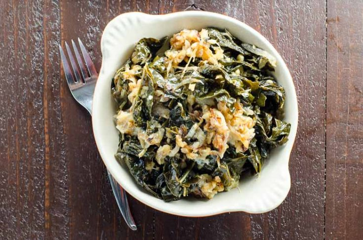 Braised Kale with Caramelized Onions, Walnuts + Blue Cheese