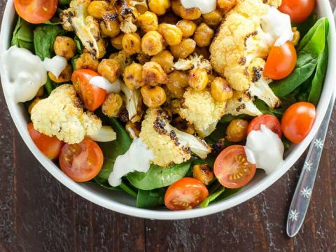 Buffalo Cauliflower and Roasted Chickpeas (Appetizer or Salad)