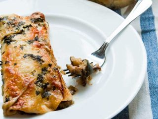 Chicken Enchiladas + Black Bean-Zucchini Enchiladas with Creamy Green Chili Sauce