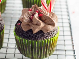 Candy Cane Chocolate Cupcakes