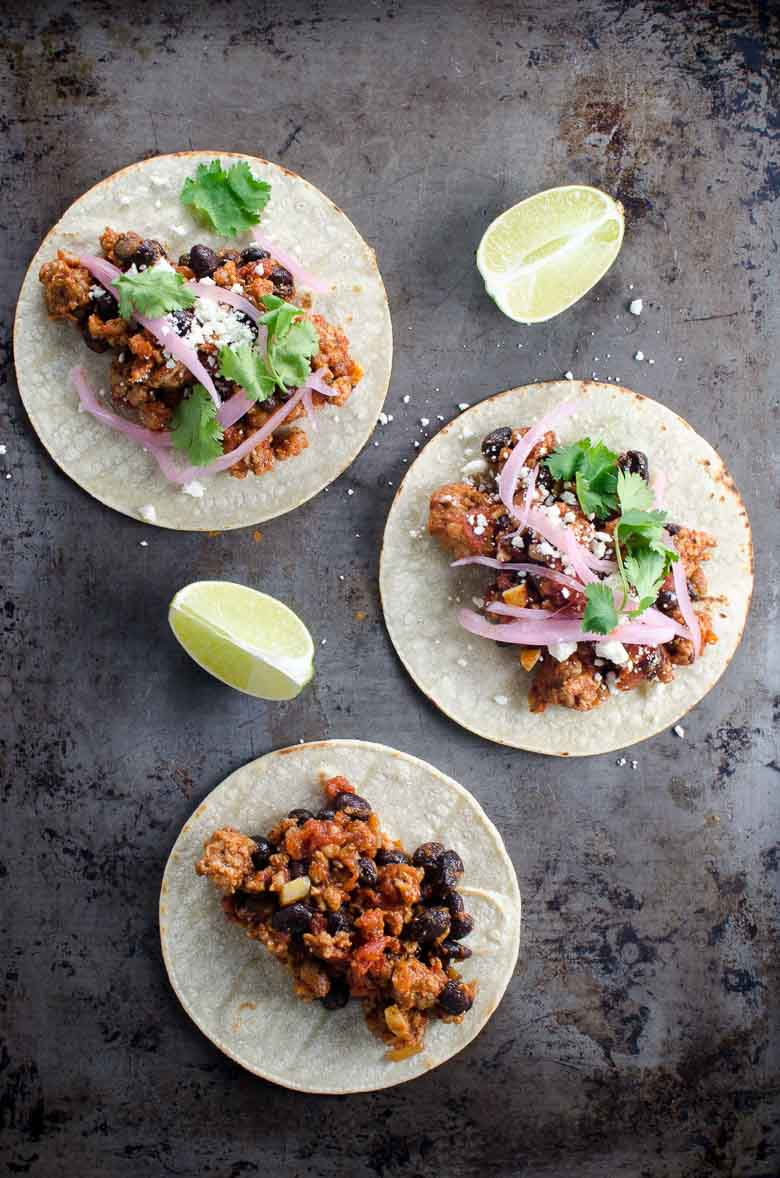 Easy Ground Pork Tacos with Black Beans | Umami Girl