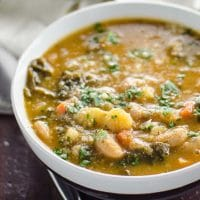 Easy Kale Soup with White Beans, Potatoes + Savory Broth