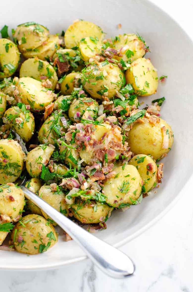 Easy Potato Salad Recipe with Bacon and Herbs and No Mayo 780 | Umami Girl-2