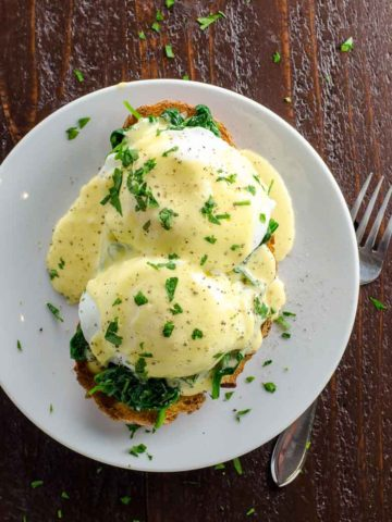 Eggs Florentine with immersion blender hollandaise
