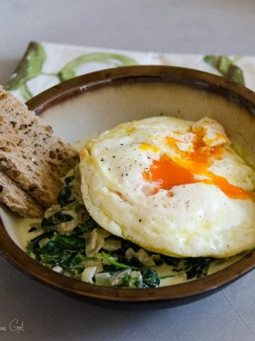 Fried Eggs with Creamed Spinach and Toast Soldiers 780 | Umami Girl