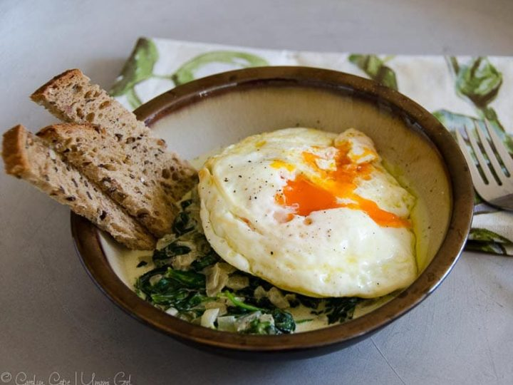 Fried Eggs with Creamed Spinach and Toast Soldiers