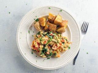 Greek Scrambled Eggs and Veggies with Savory Roasted Potatoes