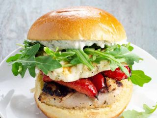 Grilled Chicken Sandwiches with Halloumi