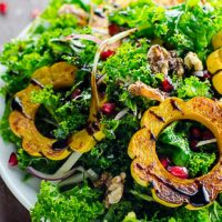 Harvest Kale Salad Recipe with Roasted Winter Squash