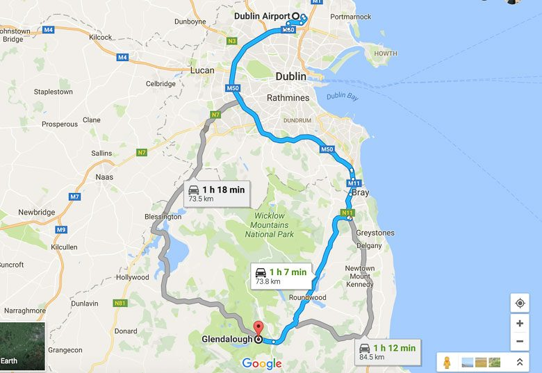 Map Driving Dublin to Glendalough Ireland 780 | Umami Girl