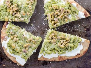 Naan Pizza with Ricotta, Garlicky Broccoli and Olives