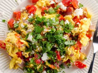 Peppers and Onions Scrambled Eggs