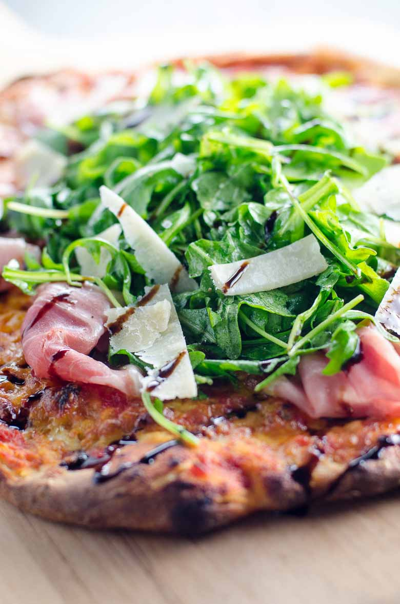 Prosciutto Arugula Pizza With Balsamic Drizzle Umami Girl