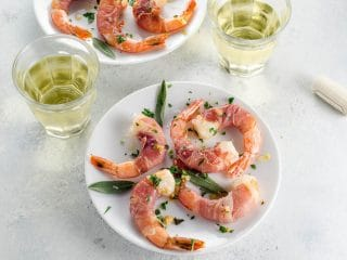 Prosciutto-Wrapped Shrimp with Sage-Garlic Butter