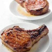 Reverse Sear Pork Chops with Quick Shallot Herb Pan Sauce (For bone-in or boneless pork chops)