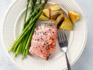 Sheet Pan Dinner: Roasted Salmon with Potatoes and Pencil Asparagus