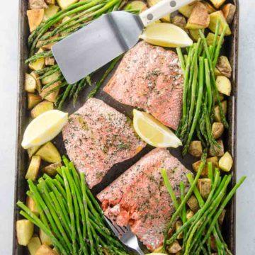 Sheet Pan Dinner Roasted Salmon with Potatoes and Pencil Asparagus 780 | Umami Girl