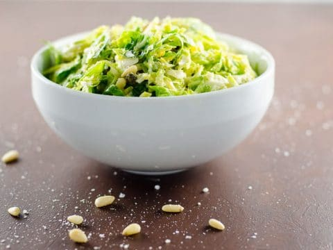 Shredded Brussels Sprouts Salad with Pecorino and Pine Nuts- 780 | Umami Girl-2