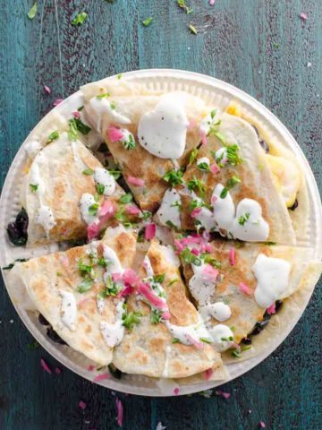Shrimp Quesadilla with Black Beans and Spinach | Umami Girl