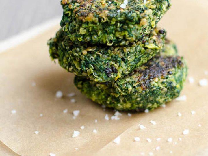 Vegan Spinach, Fava Bean, and Quinoa Cakes