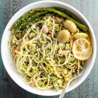 Summer Pasta with Pesto, Grilled Salmon and Corn