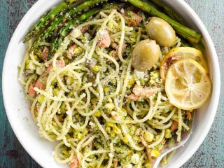 Summer Pasta with Pesto, Grilled Salmon, and Corn