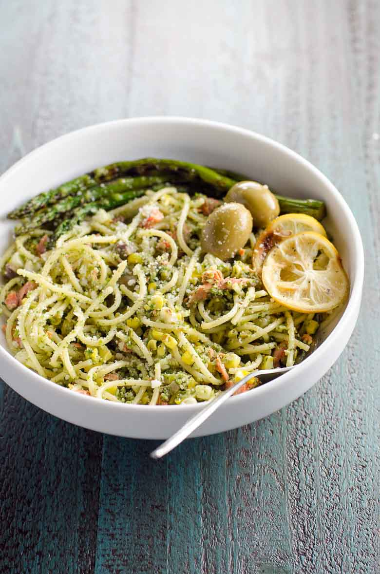 Summer Pasta with Pesto, Grilled Salmon, and Corn 780 | Umami Girl-2