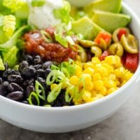 5 Minute Black Bean Taco Bowls from the Pantry + Freezer