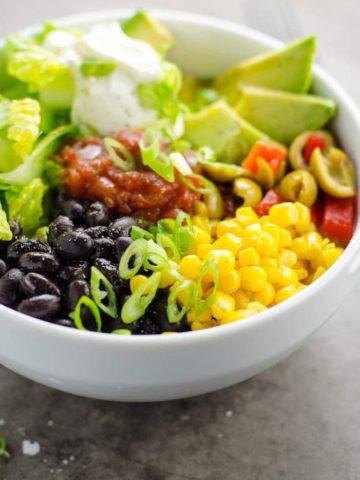 5 Minute Black Bean Taco Bowl Recipe 780 | Umami Girl