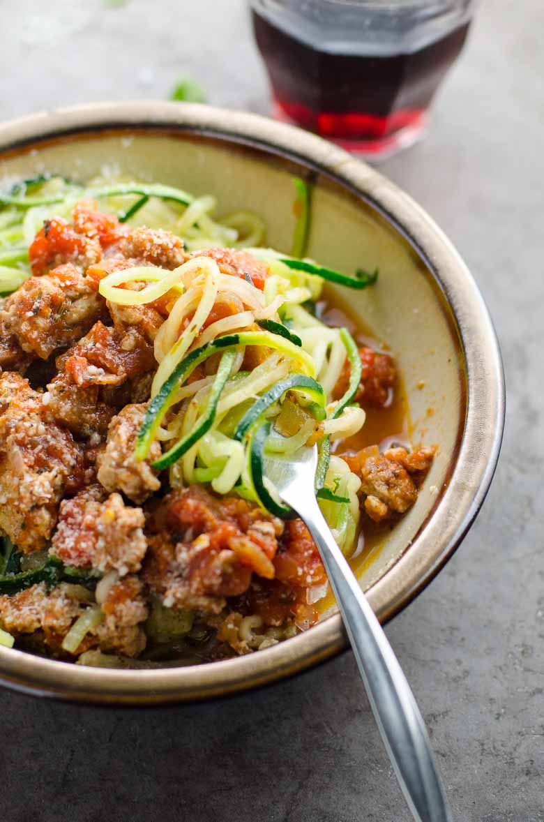 Spiralized Zucchini Noodles Zoodles Turkey Meat Sauce Umami Girl